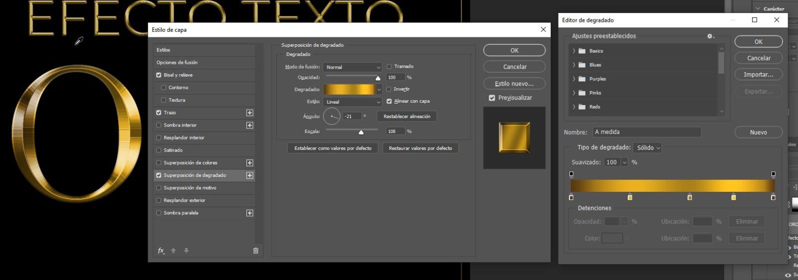 Photoshop Efecto Texto Oro Img. 3