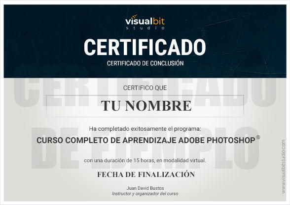 Ejemplo del certificado